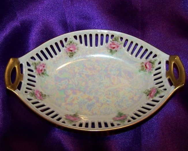 Opalescent Rose Relish Dish with Gold and Cutouts, Bavaria ACF
