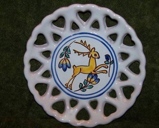 Lidova Tvorba Uh. Brod Pottery Plate with Heart Cutouts