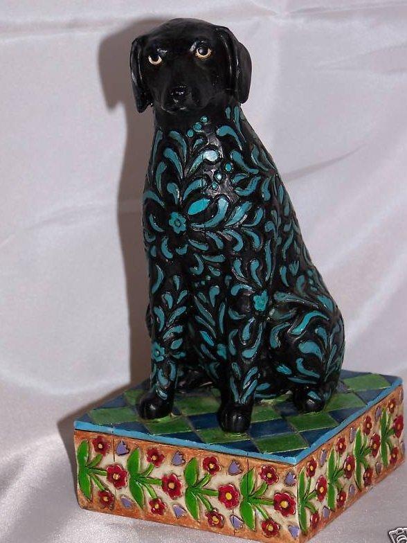 Jim Shore Black Labrador Dog, Floral Design