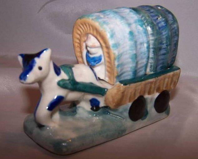Chuck Wagon w Pony, Cowboy Salt, Pepper Shakers, Japan