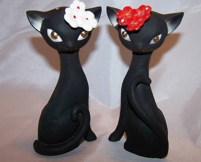 Black Cat Kitten Salt and Pepper Shakers Set Classy