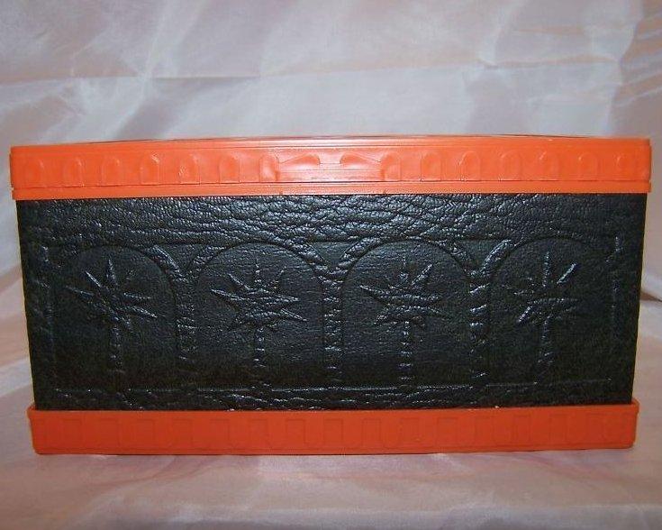 Orange, Brown Plastic, Vinyl Recipe, File Box