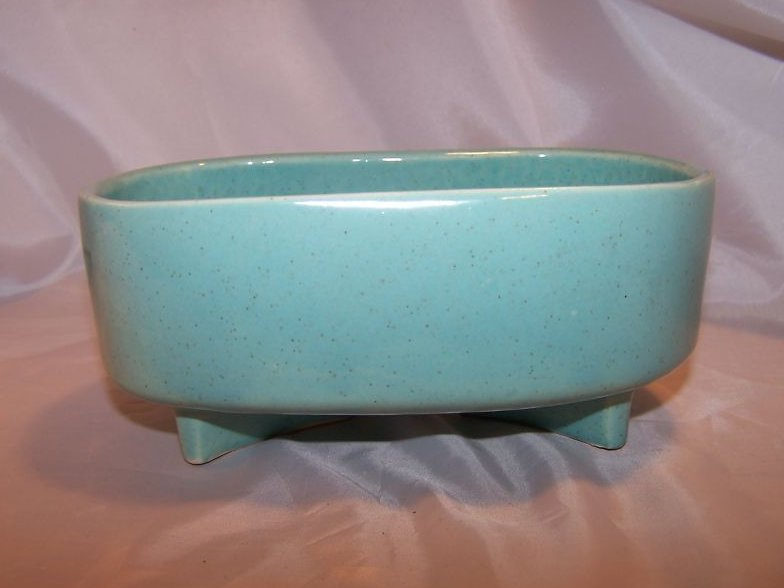 McCoy Pottery Footed Planter, Speckled Green Gloss, USA