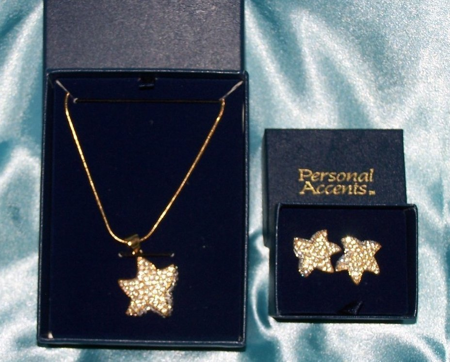 Gold, Crystal Star Earring, Necklace Jewelry Set, New, Breathtaking