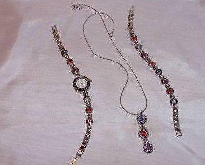 Watch, Bracelet, Necklace Bling Set, New