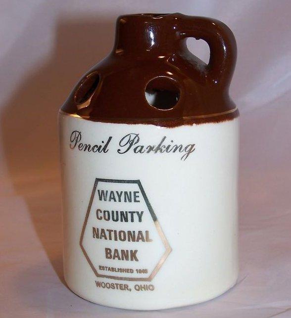 Wayne County National Bank Promo Ad, Pencil Jug, Mini Crock