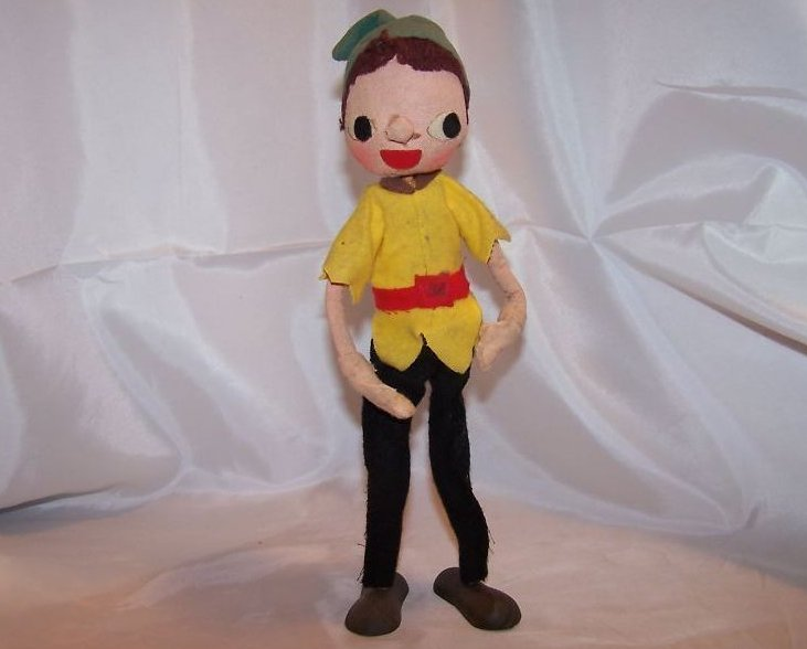 Poseable Vintage Cloth Elf Doll w Brown Hair, Faded Hat