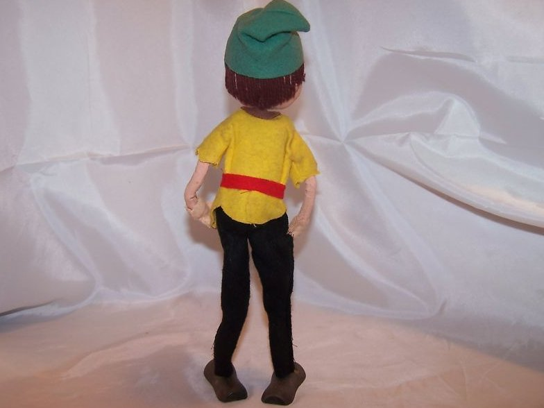 Image 1 of Poseable Vintage Cloth Elf Doll w Brown Hair, Faded Hat