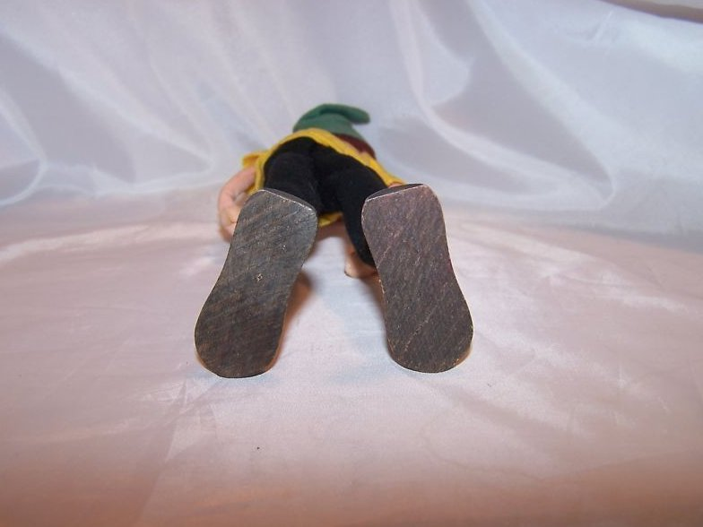 Image 3 of Poseable Vintage Cloth Elf Doll w Brown Hair, Faded Hat