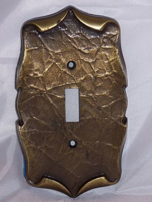 Scrolled Parchment Metal Single Switch Plate
