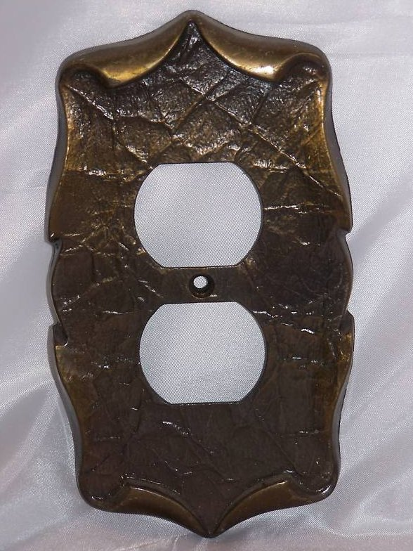 Scrolled Parchment Metal Single Outlet Plate
