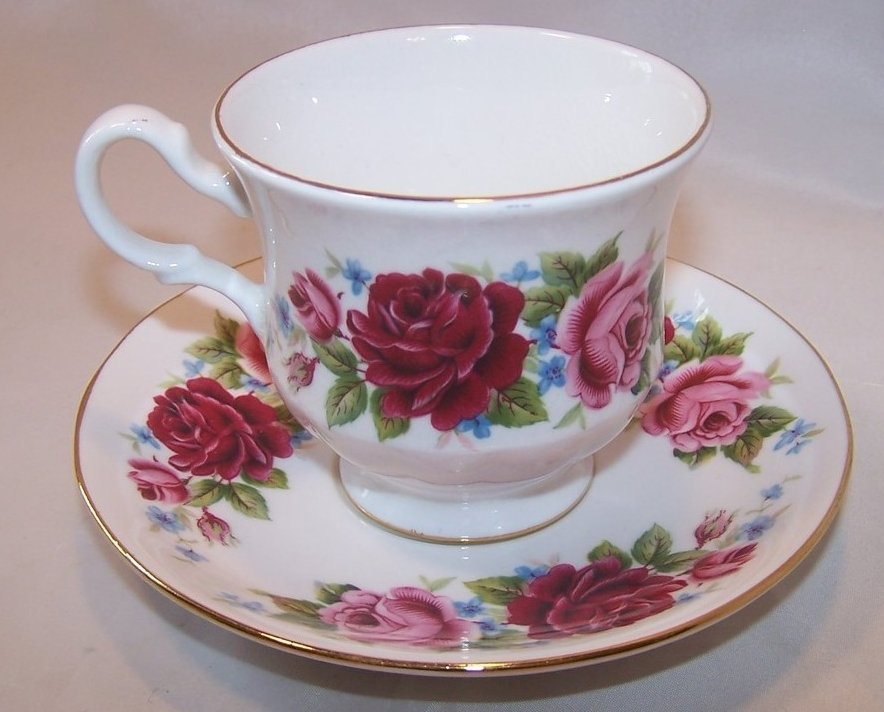 Queen Anne Tea Teacup and Saucer with Roses, Forget Me Nots