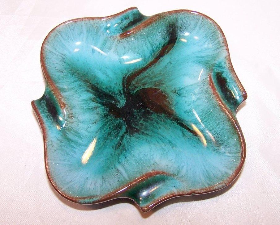 Teal Dripware Dish, Ashtray Ash Tray, Blue Mountain Pottery, Canada