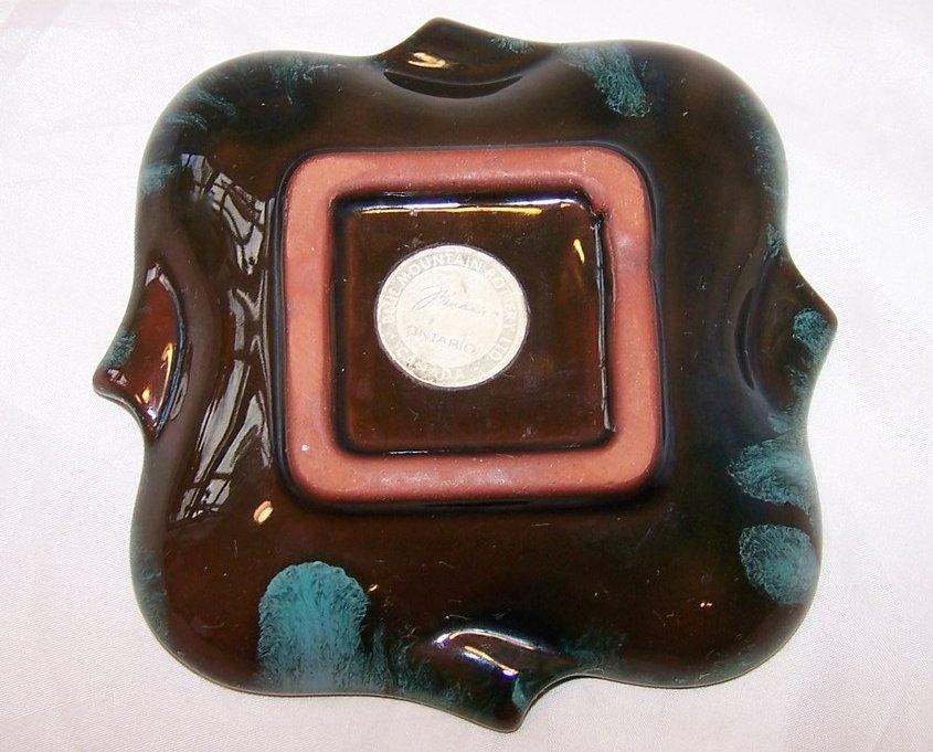 Image 1 of Teal Dripware Dish, Ashtray Ash Tray, Blue Mountain Pottery, Canada