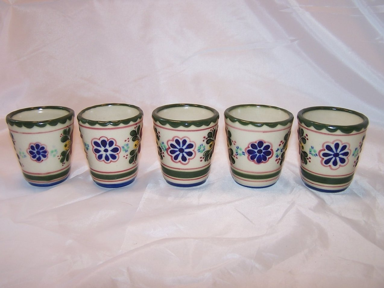 Image 1 of Mexican Mini Flower Pots, Windowsill Pots, Set of 5, Mexico