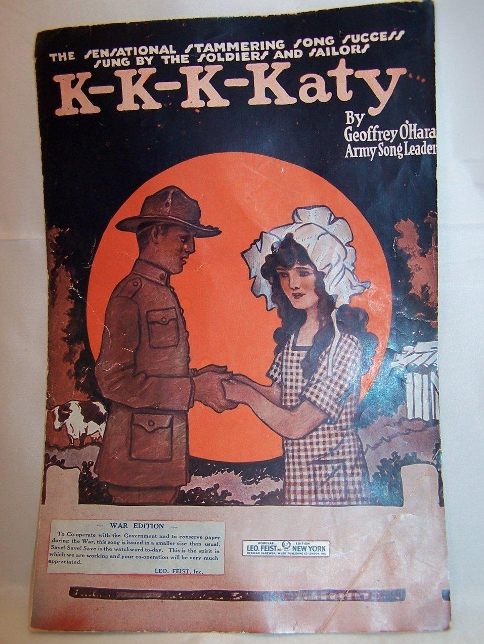 Katy Sheet Music by Army Song Leader Geoffrey O'Hara, 1918