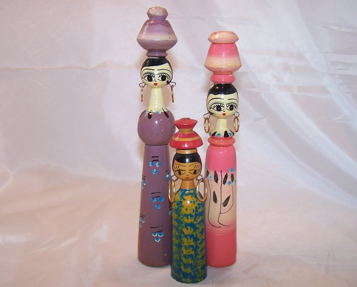 Wooden Doll Trio Hand Painted