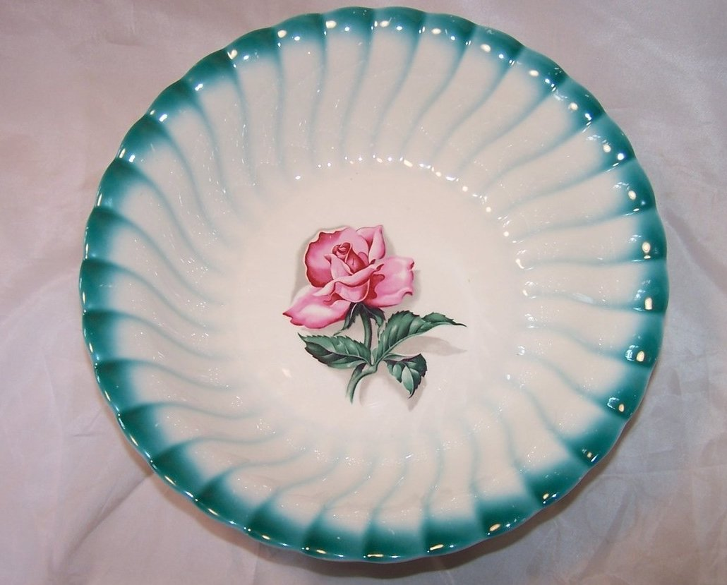 Breathtaking Homer Laughlin Vegetable Bowl, Teal Edge, Rose