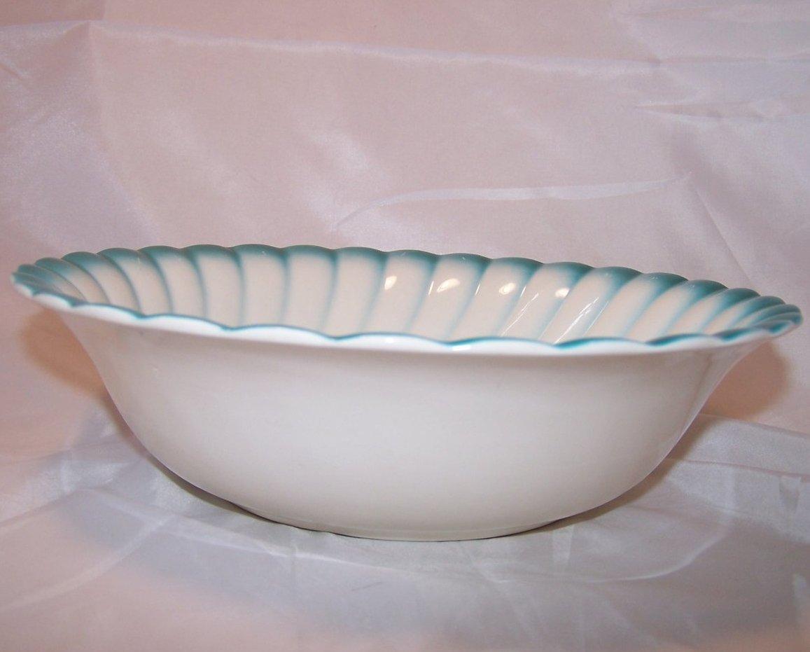 Image 2 of Homer Laughlin Vegetable Bowl, Teal Edge, Rose