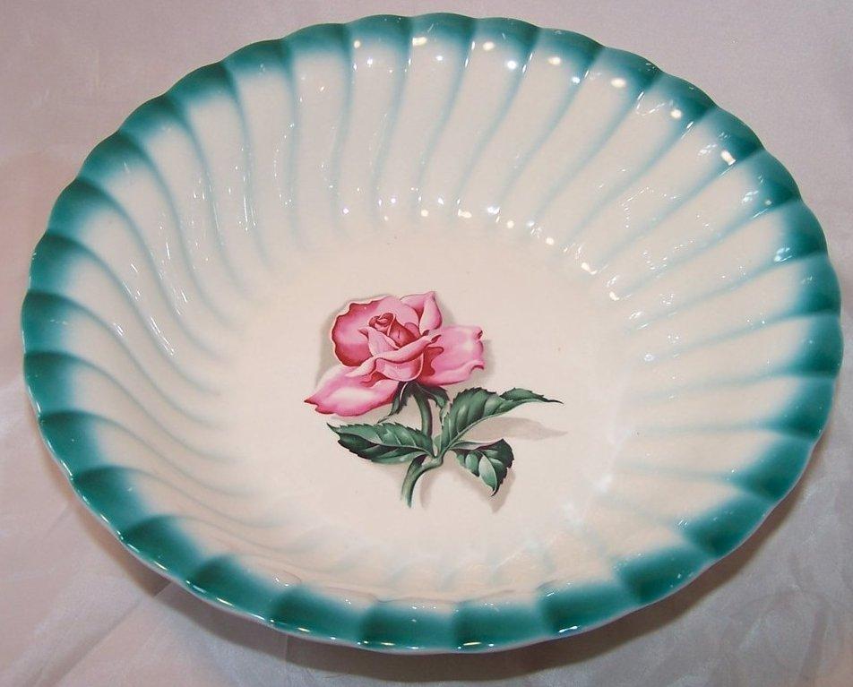 Image 3 of Homer Laughlin Vegetable Bowl, Teal Edge, Rose