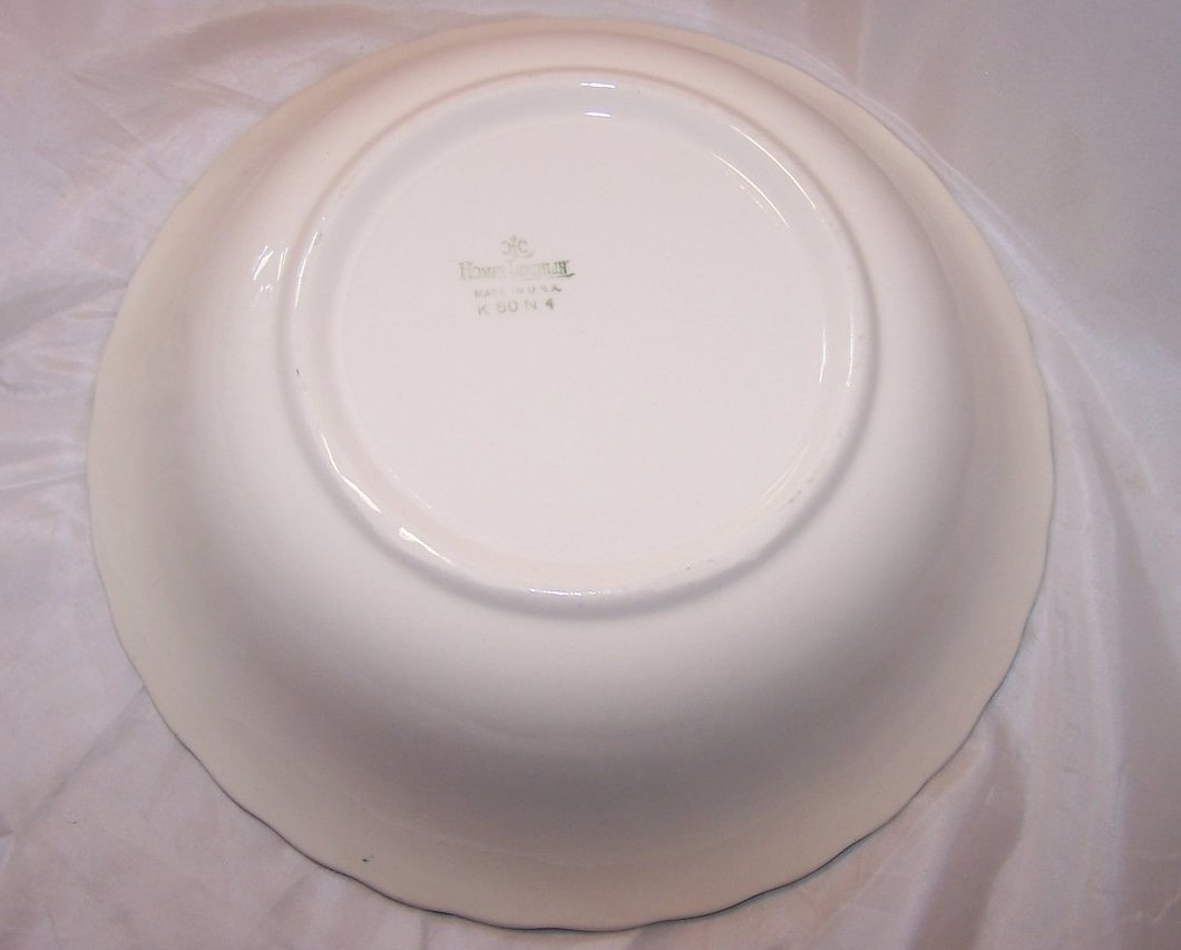 Image 4 of Homer Laughlin Vegetable Bowl, Teal Edge, Rose