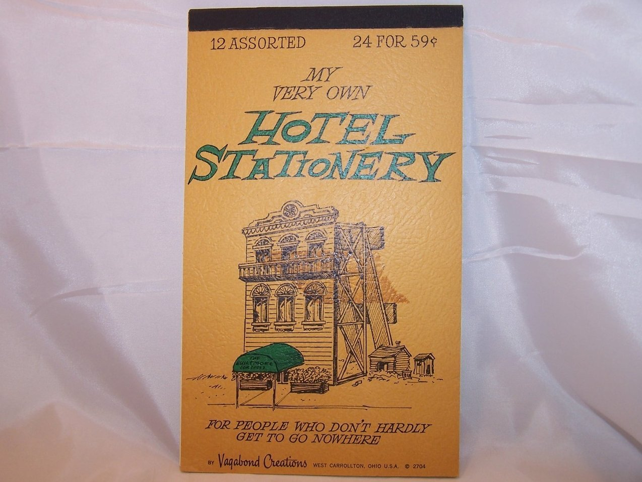 My Very Own Hotel Stationery Note Writing Pad, Vintage 70s