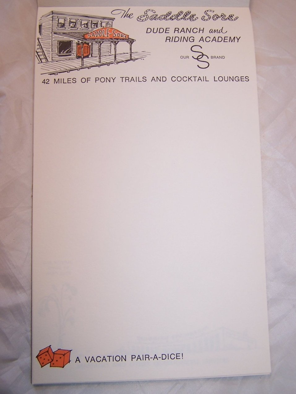 My Very Own Hotel Stationery Note Writing Pad Vintage 70s