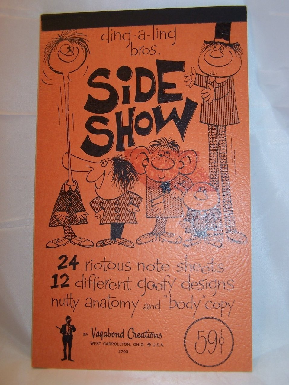 Ding a Ling Bros. Side Show Note Pad, Vintage 70s Seventies