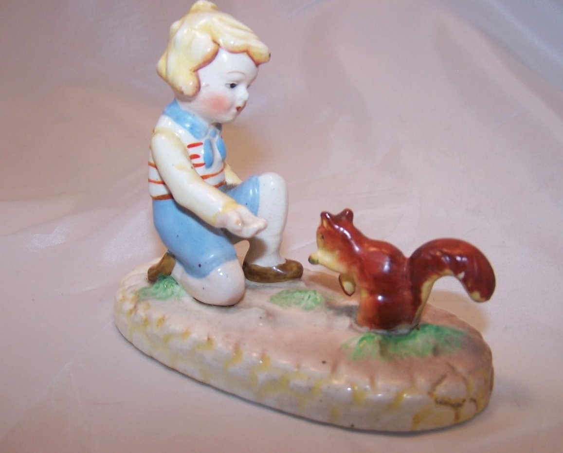 Child Feeding, Making Friends with Squirrel,  Japan Figurine