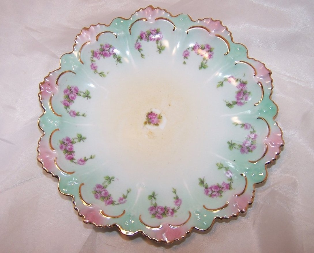 MZ Austria Green and Pink Floral Rose Plate, Gold Highlights
