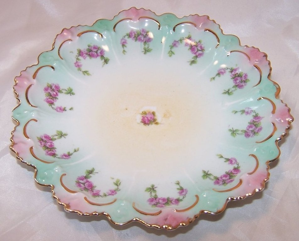 Image 1 of MZ Austria Green and Pink Floral Rose Plate, Gold Highlights
