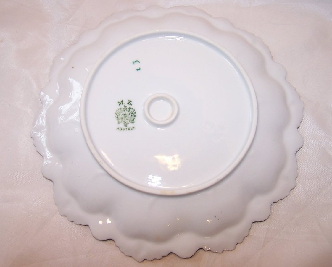 Image 2 of MZ Austria Green and Pink Floral Rose Plate, Gold Highlights