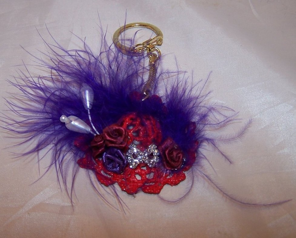 New Red Hat Keychain with Rhinestone Bow, Flowers, Feathers