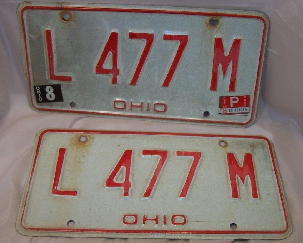 L 477 M Double License Plate Set, Ohio, 31 Years Old