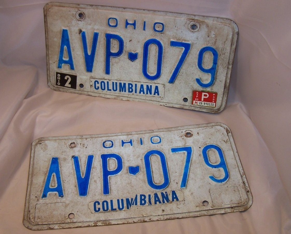 AVP 079  Double License Plate Set, Ohio, 26 Years Old