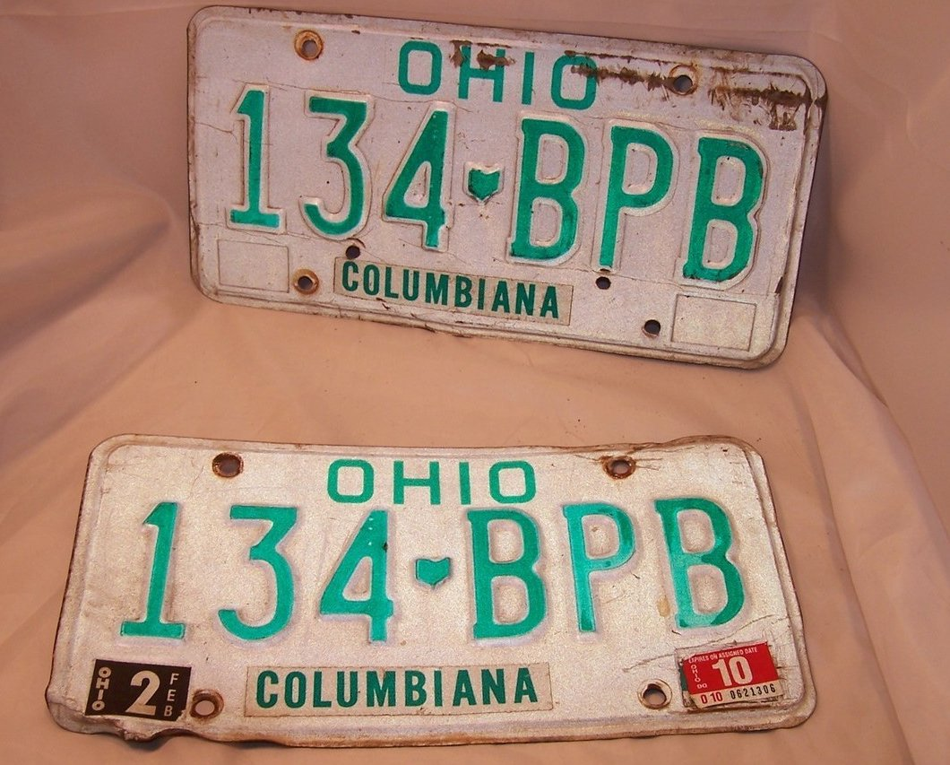 134 BPB Double License Plate Set, Ohio, 21 Years Old