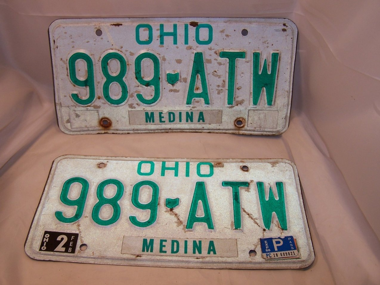 989 ATW Double License Plate Set, Ohio, 23 Years Old