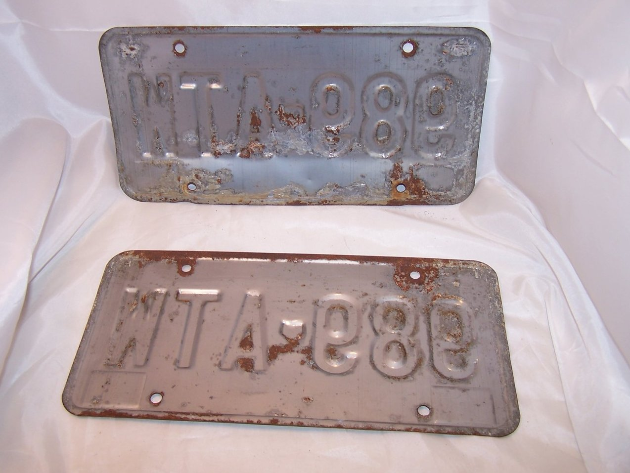 Image 1 of 989 ATW Double License Plate Set, Ohio, 30 Years Old