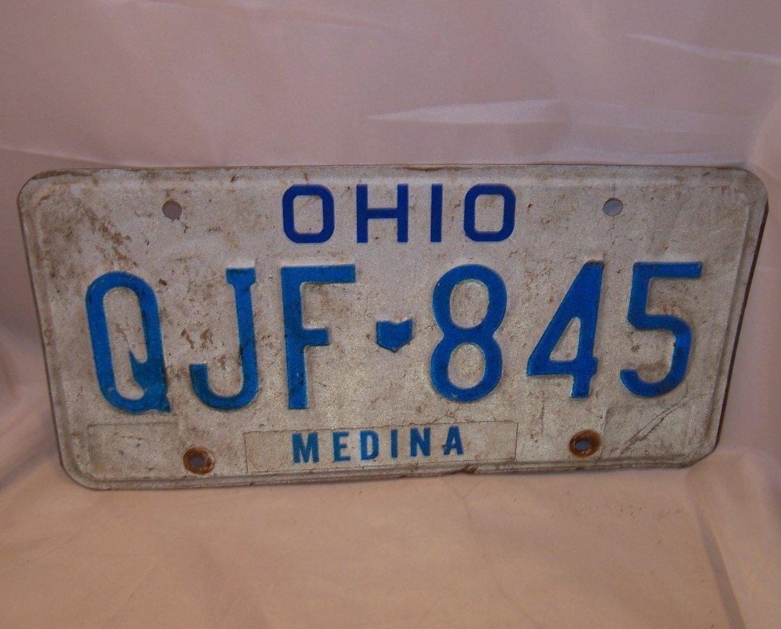 QJF 845 Single License Plate, Ohio