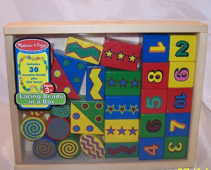Image 0 of Melissa and Doug 30 Wooden Lacing Beads in Box, Ages 3 up