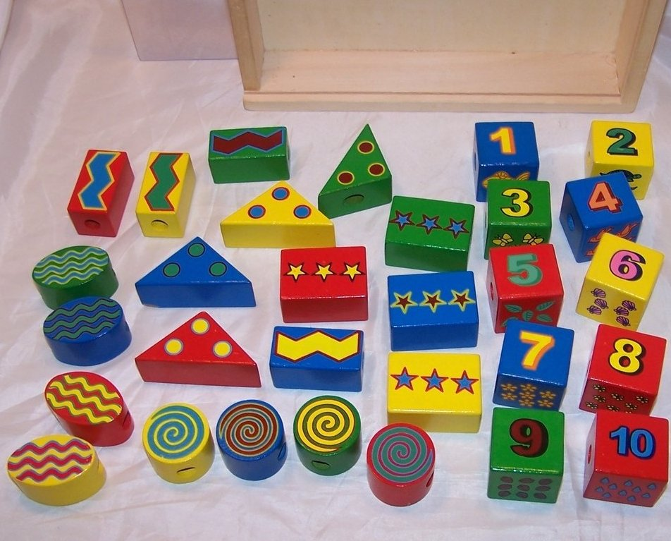 Image 2 of Melissa and Doug 30 Wooden Lacing Beads in Box, Ages 3 up
