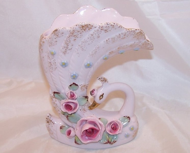 Image 0 of Stylized Pink Swan Vase with Roses, Japan Japanese, Napco