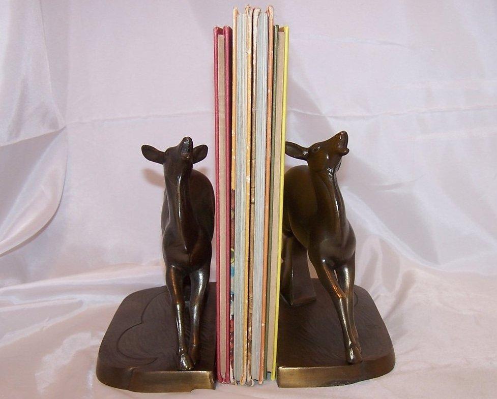 Image 4 of Bookend Brass Deer Set, Art Deco, Frankart Inc.