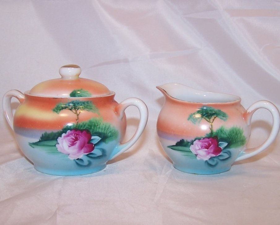 Image 0 of Vintage Noritake Orange and Blue Island Creamer, Sugar Bowl