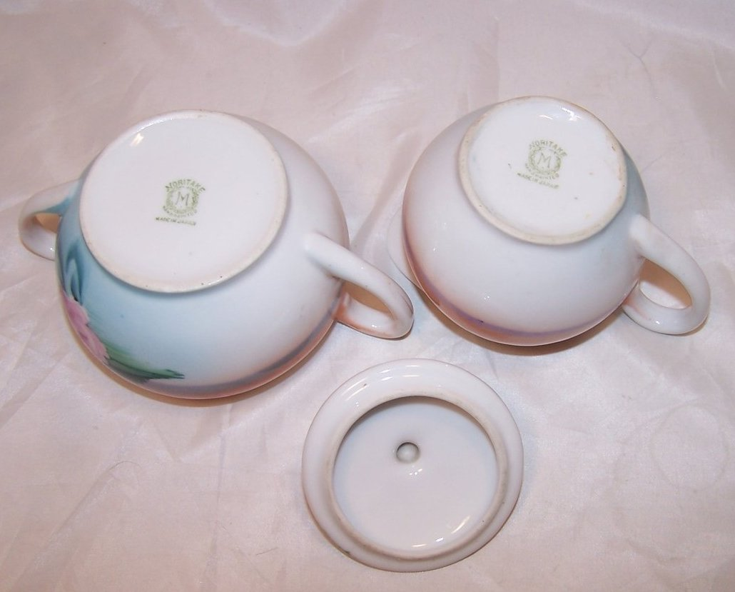 Image 5 of Vintage Noritake Orange and Blue Island Creamer, Sugar Bowl
