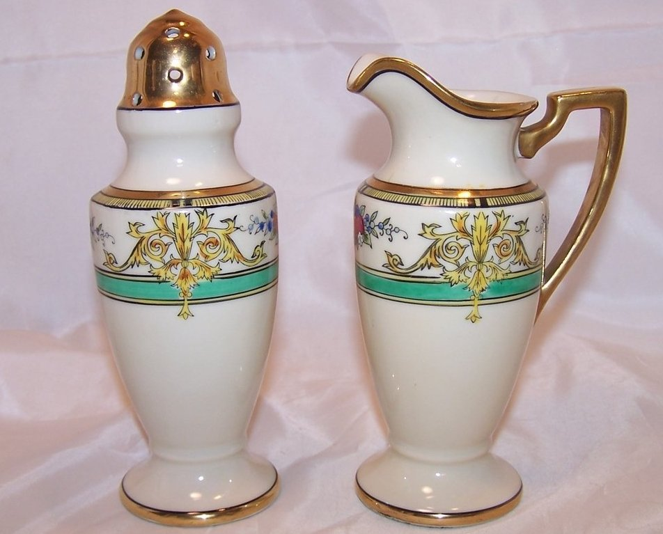 Image 0 of Classic Noritake Creamer and Sugar Shaker, Vintage, Japan