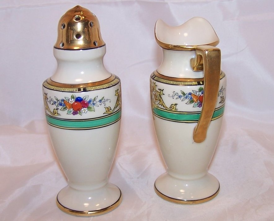 Image 2 of Classic Noritake Creamer and Sugar Shaker, Vintage, Japan