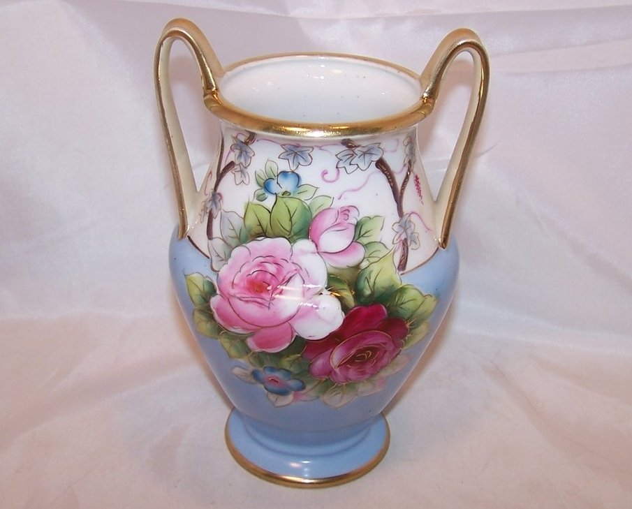 Double Handled, Hand Painted Vase, Noritake Japan Japanese