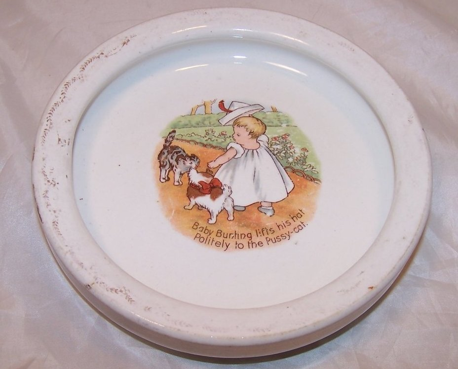 Image 0 of Baby Bunting and Pussy Cat Porcelain Bowl Antique