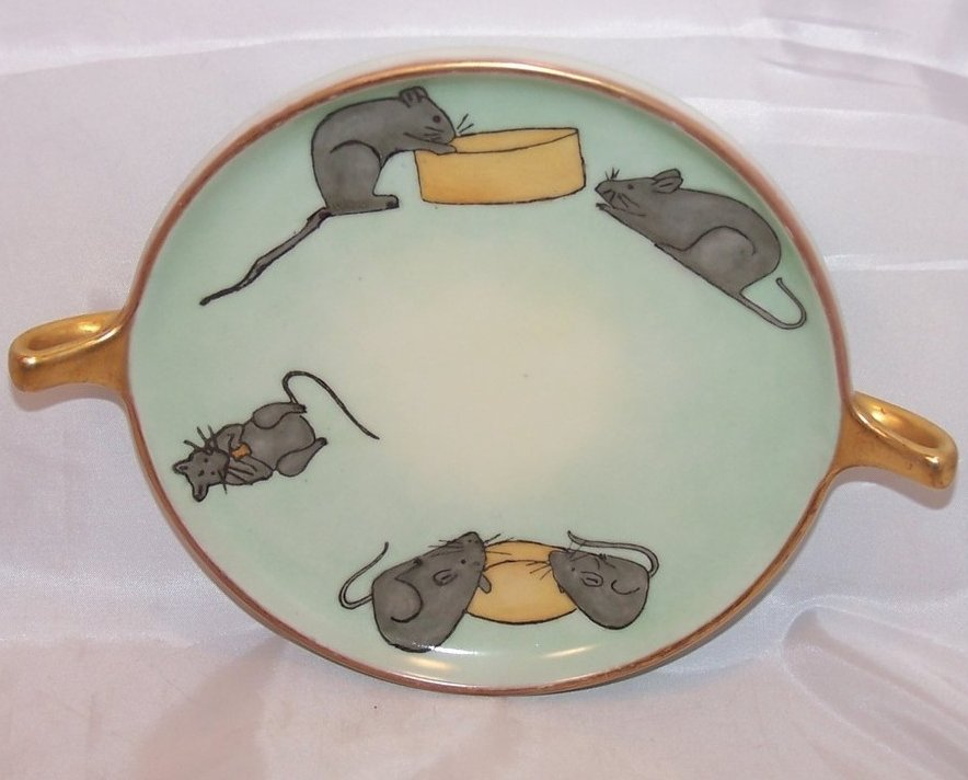Teal and Gold Mouse and Cheese Plate, GDA France, Signed